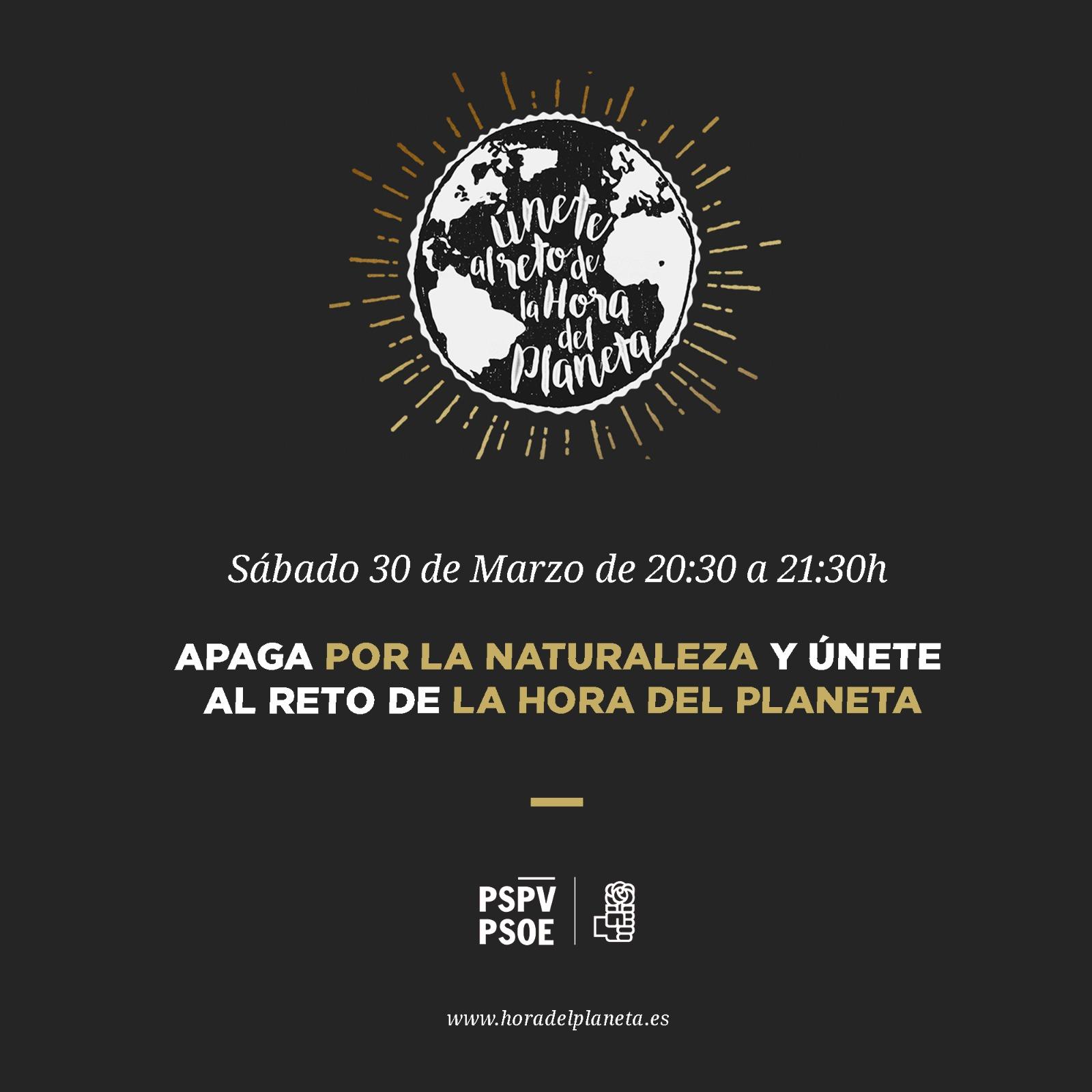 El PSPV-PSOE fa una crida per a unir-se a l'hora del planeta i lluitar contra el canvi climàtic