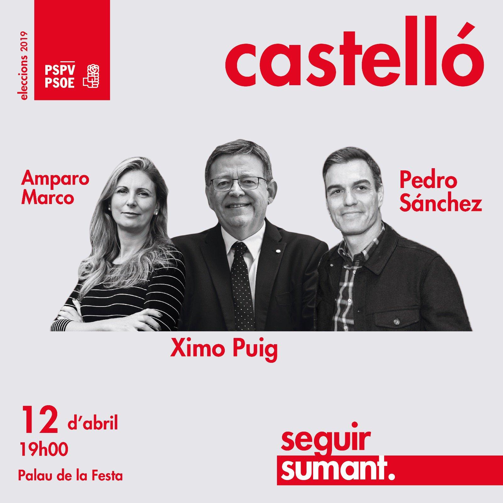 Acte en Castelló amb Pedro Sánchez, Ximo Puig i Amparo Marco