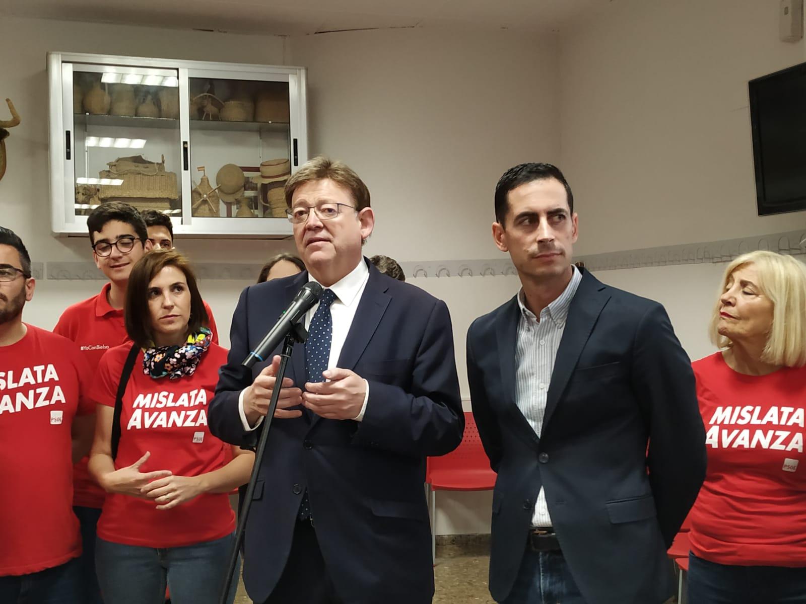 """Ximo Puig: """"Bielsa ha aconseguit que Mislata tinga ànima pròpia i siga una referència en avanç social"""""""