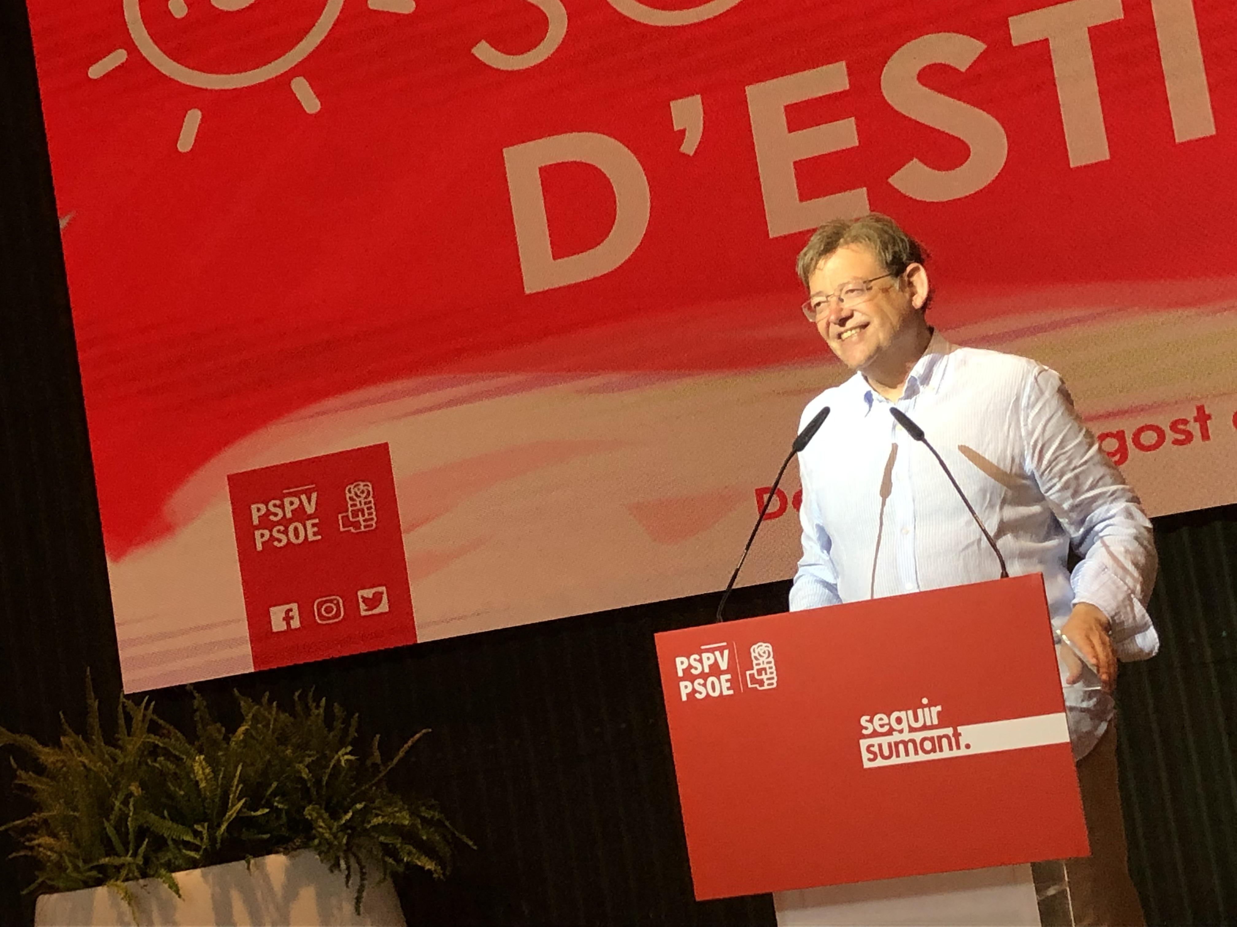 """Ximo Puig: """"Este es un acto de reconocimiento a los compañeros y compañeras que han conseguido otra vez que el partido socialista sea la primera fuerza política de la Comunitat"""""""